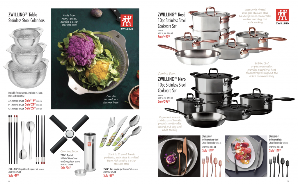 Beautiful stainless steel cookware with rose handles