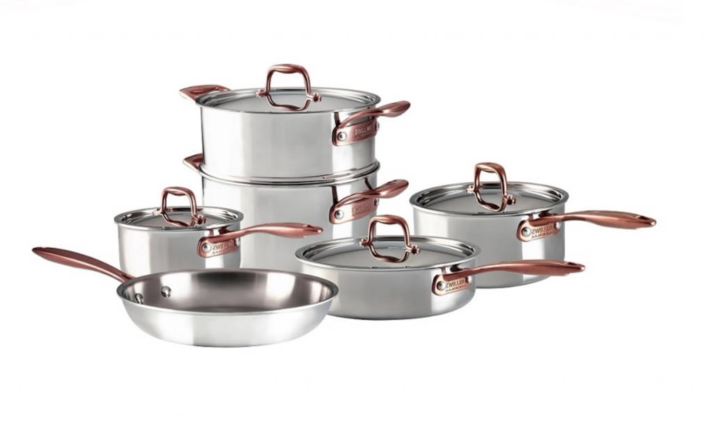 Stainless steel 10 piece cookware set with rose gold handles and finishes.