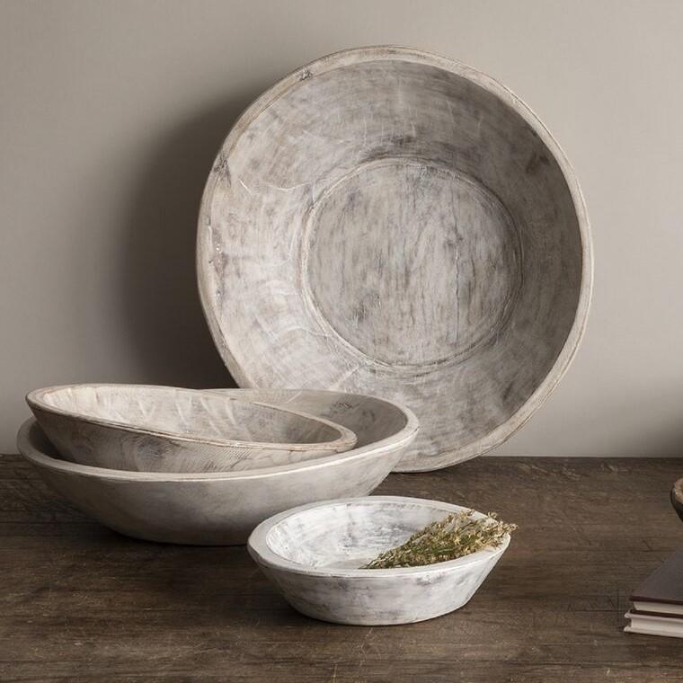 Found Dough Bowl - White Washimage